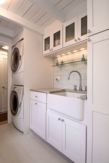 laundry room-stacked washer and dryer, counter, large farmhouse sink