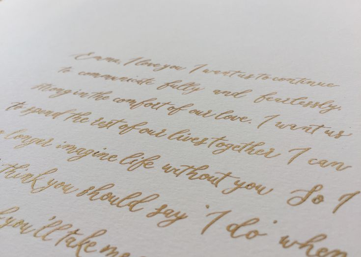 Calligraphy wedding vows. Heartfelt sayings in handwritten calligraphy. Gold ink on Otalian Watercolour paper. The perfect heirloom gift for a first anniversary to celebrate a paper anniversary.