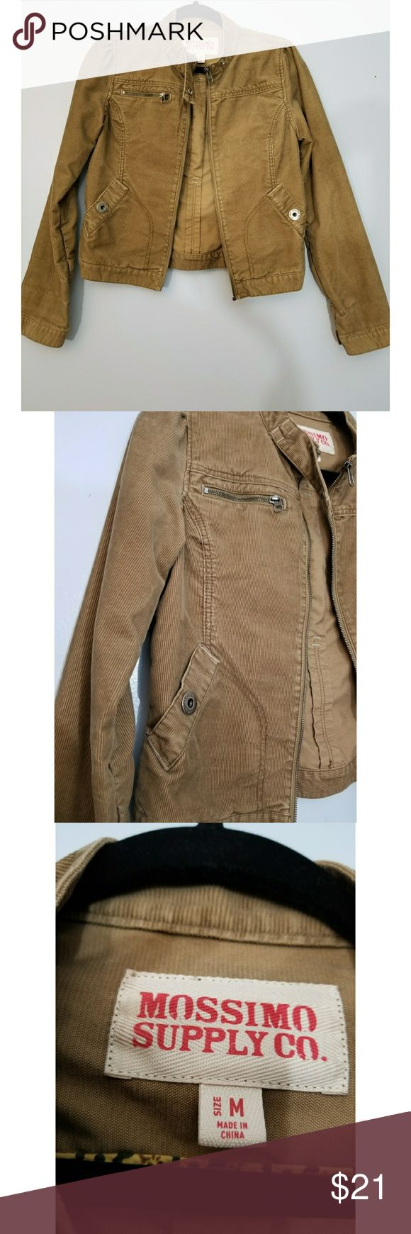 """Mossimo Women's Tan Camel Brown Corduroy Jacket Mossimo Women's Tan/Camel Brown Corduroy Zip Up Med Jacket  Can be very casual or it can make your outfit more dressed up. Has front pockets. Great material and very comfortable.  Measurements:(Approximate. Taken Flat) Chest (armpit to armpit): 20"""" Length from shoulder: 19"""" Sleeve Length from shoulder seam: 25"""" EUC-No damage, tears, holes, or stains  Smoke/Pet Free Home   WJAC006 Mossimo Supply Co. Jackets & Coats"""