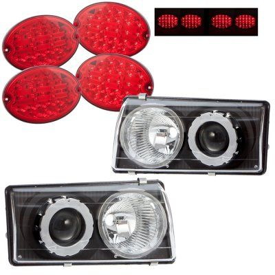 Chevy Corvette C5 1997-2004 Black Projector Headlights and LED Tail Lights Red