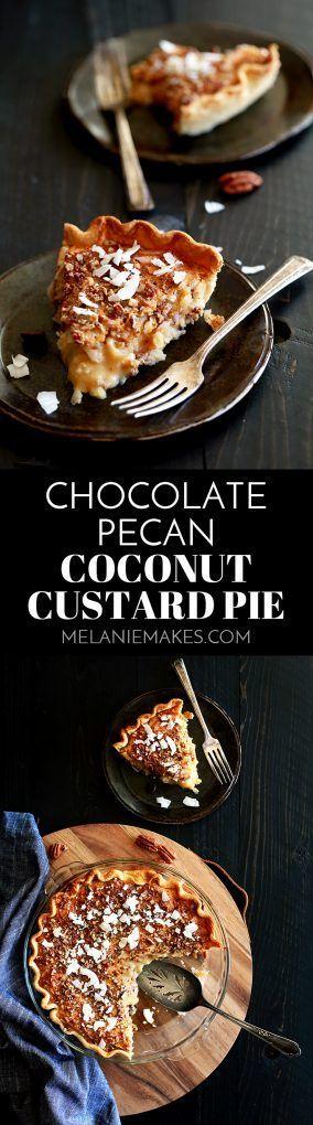 This ten ingredient Chocolate Pecan Coconut Custard Pie takes just ten minutes to prepare.  A refrigerated pie crust is the perfect shortcut for a coconut custard filling studded with dark chocolate chips, unsweetened coconut flakes and chopped pecans.  The end result is a luscious and indulgent pie perfect for any occasion.
