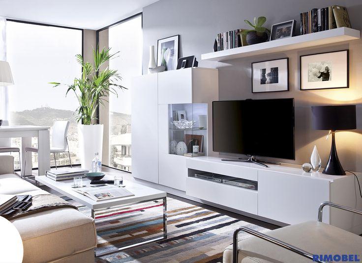 Duo 06 sal n sencillo y elegante en color blanco sat n for Decoracion family room moderno