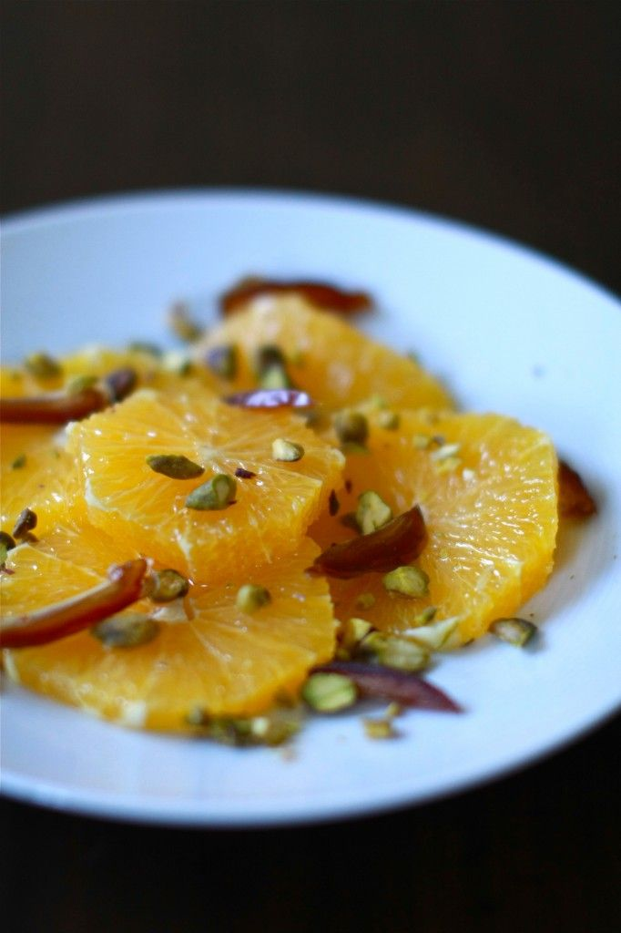 Orange, Date, Pistachio and Flower Water Salad | Wandering Spice | Art ...