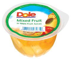 Delicioso pote de fruta mixta con jugo de fruta 100% natural de Dole. Sano y nutritivo, conservado en el más delicioso jugo de fruta natural.