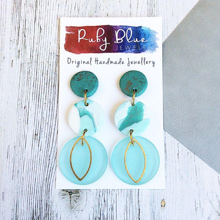 Long dangle earrings, Polymer clay dangle earrings, Statement Earrings, Tiffany green dangle earrings, Clay and Sea Glass earrings handmade by Rubybluejewels on Etsy https://www.etsy.com/au/listing/559518000/long-dangle-earrings-polymer-clay-dangle