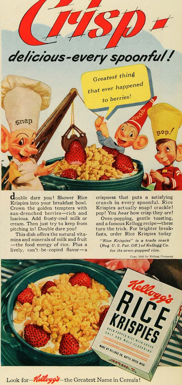 This is an original 1942 color print ad for Kellogg's Rice Krispies cereal by the Kellogg Company. CONDITION This 69+ year old Item is rated Very Fine +++. Light aging in margins. No creases. No natur