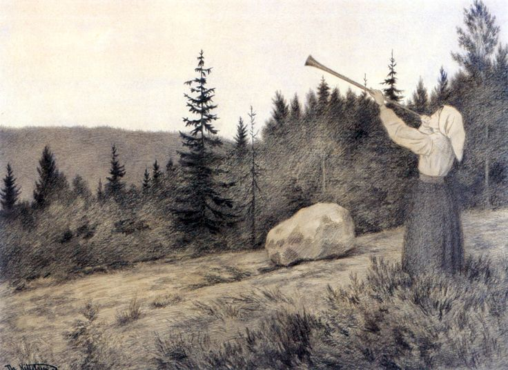 Up in the Hills a Clarion Call rings out (by Theodor Kittelsen)