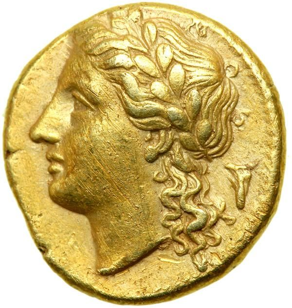 Sicily, Syracuse. Agathokles, 317-289 BC. Electrum 25 Litrai (3.72 g). AEF Laureate head left of Apollo; behind, bucranium. Tripod-lebes. Jenkins ( ) Group B, plate 14 (cf. 011, but not these dies); Dewing 941. A few light scattered marks, struck in high relief for issue. Estimated Value $1,000 - 1,200. #Coins #Gold #Ancient #MADonC