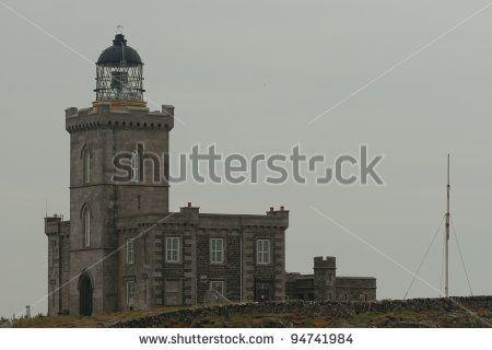 Robert Stevenson's lighthouse on the Isle of May - stock photo