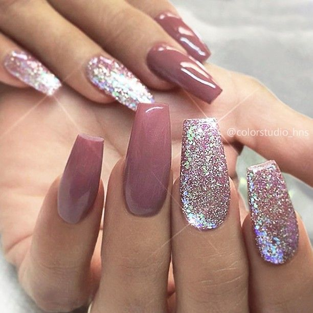 Repost Mauve And Glitter On Long Tapered Square Nails Picture And Nail Design By Colorst Tapered Square Nails Mauve Nails Nail Designs Glitter