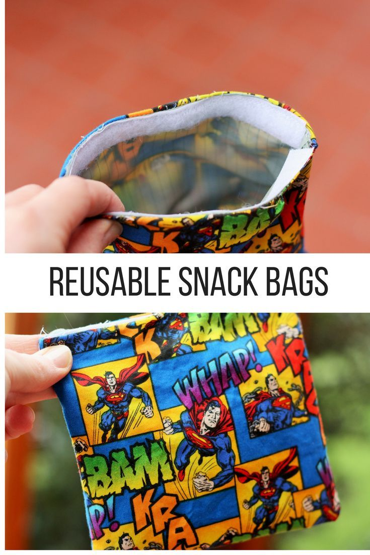 """Reusable snack bags are an easy sewing project to help you live a more sustainable life. """"Green up"""" your lunchboxes, diaper bags, and purses. via @https://www.pinterest.com/frugalbychoice/"""