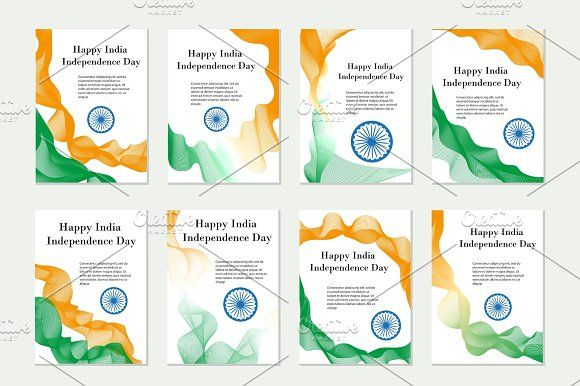 Independence Day India. Set of templates, brochures, flyers for your design in the colors of the national flag of India. Vector illustration. Graphics Independence Day India. Set of templates, brochures, flyers for your design in the colors of the nat by Lucia Fox
