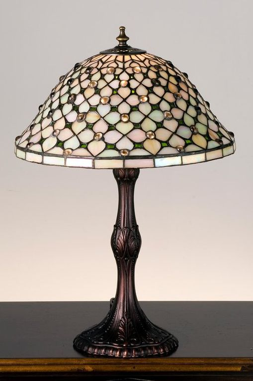 Meyda tiffany stained glass tiffany accent table lamp from the diamond jewel collection