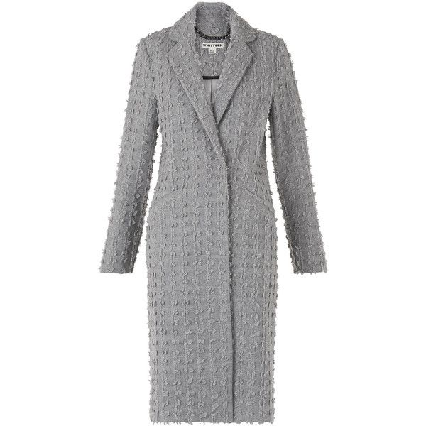 Whistles Textured Wool Mix Coat ($295) ❤ liked on Polyvore featuring outerwear, coats, grey, whistles coat, gray coat and grey coat
