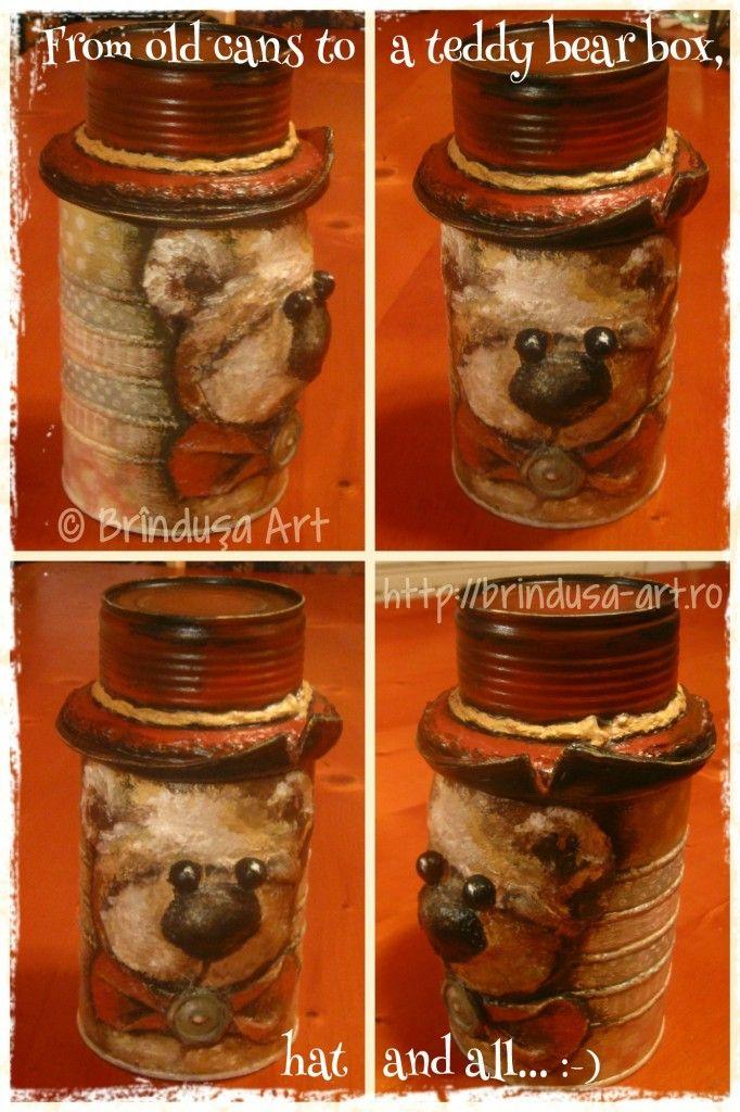 Repurposed/ recycled tin cans, painted in acrylics... I used 2 older cans, the result is a painted teddy bear box… with a hat. The teddy bear is 3D. The hat is the lid of the box & can be taken off. Everything painted entirely in acrylics.  Conserve vechi reciclate, pictate cu culori acrilice. Am folosit 2 conserve vechi, iar rezultatul este o cutie pictată, cu un ursuleţ în relief… şi cu pălărie. Pălăria e capacul cutiei şi poate fi dată jos. Totul pictat în culori acrilice.