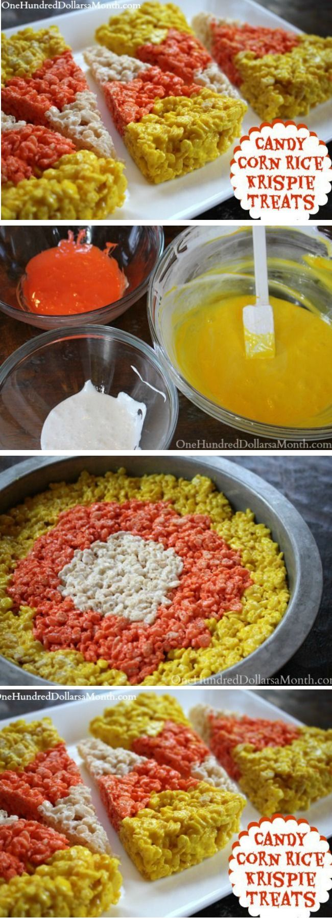 Don't you think these Candy Corn Rice Krispie Treats would make the perfect treats for a school or harvest party? Ingredients: 9 cups Rice Krispies cereal 11 ounces mini marshmallows {1 bag} 6 Tbsp butter + more for greasing the pans Yellow food coloring Orange food coloring Directions: Start by buttering {2} 8″ round cake …