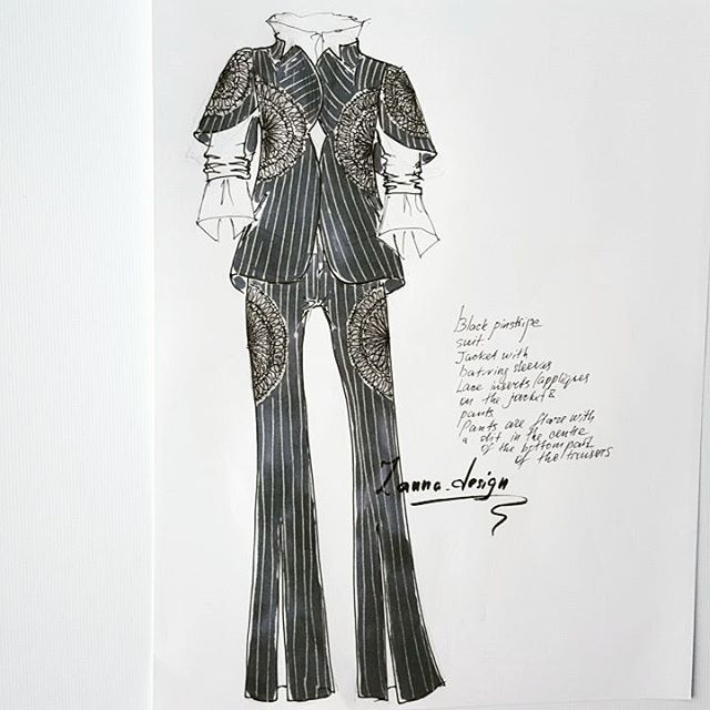 Suit + lace mood today... #pinstripe #pinstriping #fashionsketches #blackpinstripesuit #flarepants #fasionsketchet