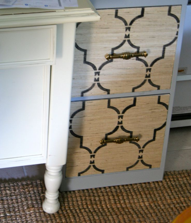 how to cover a filing cabinet with wallpaper 2