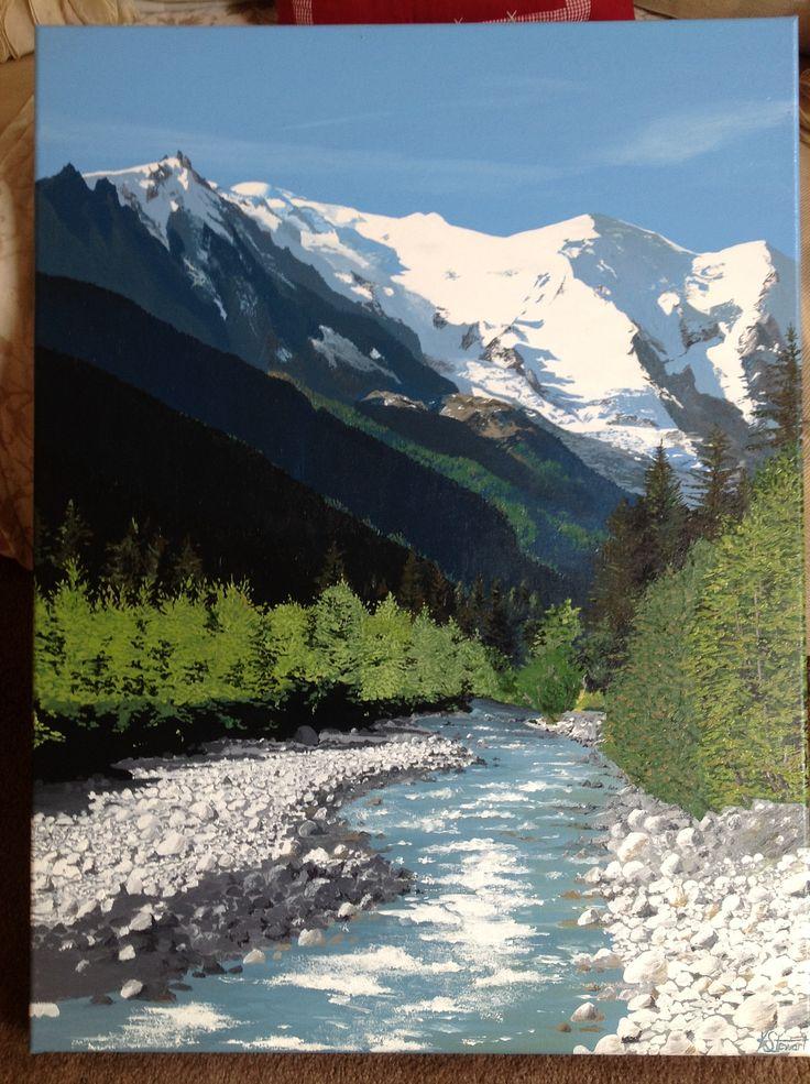 Acrylic painting. Perfection in the Alps, Chamonix, France www.katiestewartart.co.uk