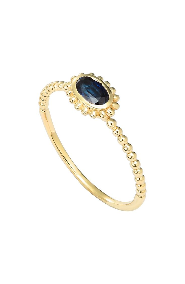 oval stone caviar stack ring
