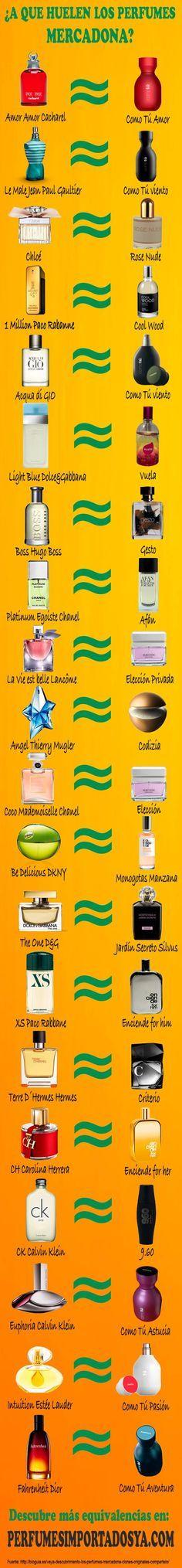 Listado de equivalencias entre los perfumes mercadona y las fragancias más populares. #perfumes #equivalencias #mercadona  Nos encanta :) We Love :)