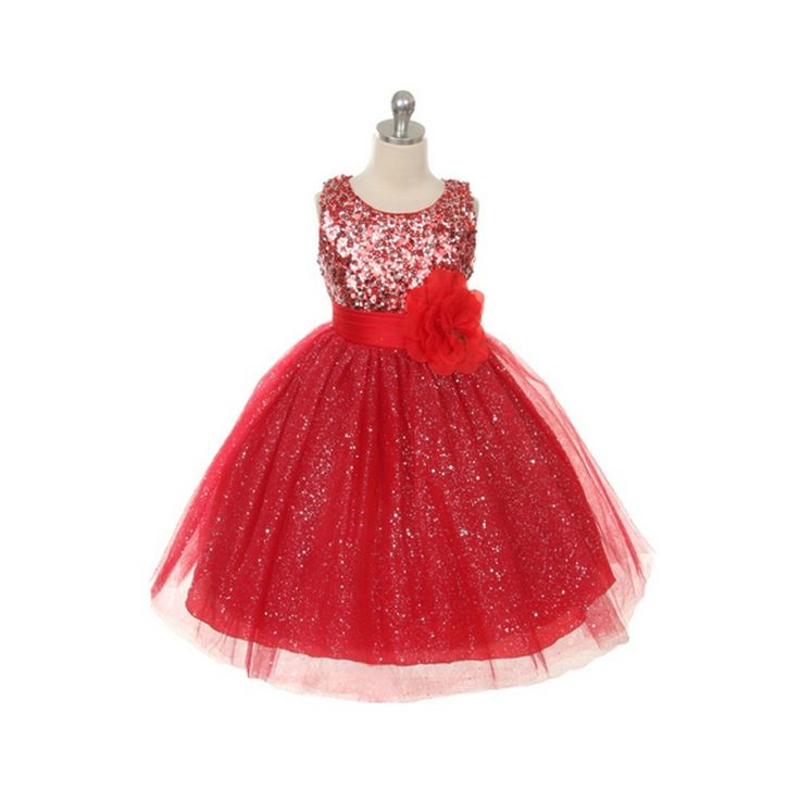 Simply stunning is this special occasion dress for your little girl from Rain Kids. This red sleeveless dress features a sequined top leading to a sparkly tulle skirt.  Attached underskirt adds fullness. It will definitely make your princess feel so speci