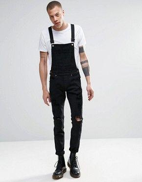 Dr Denim Ira Skinny Ripped Dungaree Jeans in Black