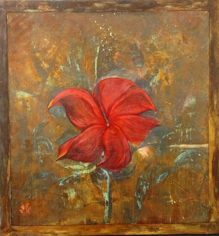 """FLOWER"" mixed media/canvas 5'2 x 5'2 US$2000"