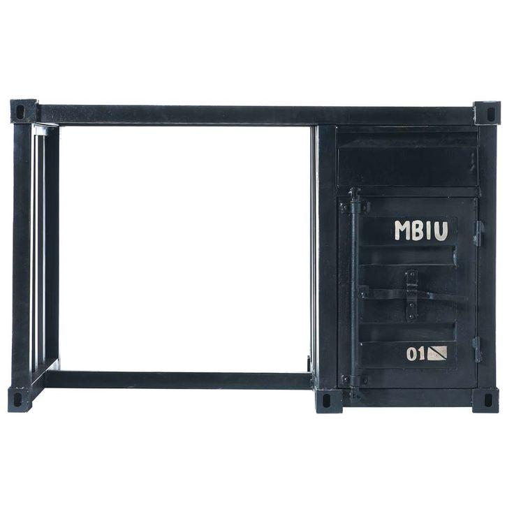 Zwart metalen container-bureau B 123 cm Carlingue