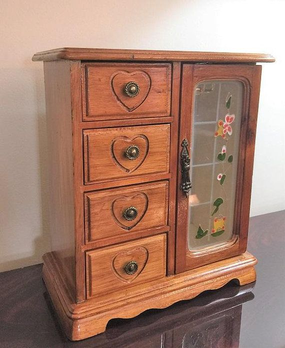 Vintage Hand Made Small Armoire Jewelry Cabinet Box Storage Chest Stand Organizer Solid Wood And Painted Glass Door Jewelry Cabinet Cabinet Boxes Solid Wood