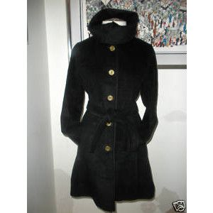 COACH BLACK WOOL DAY COAT LINED SIGNATURE C