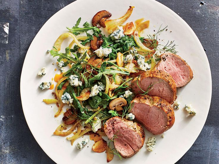 Pork Tenderloin with Mushrooms, Fennel, and Blue Cheese | Our healthy pork recipes make dinner delicious no matter what cut of pork you prefer. From tenderloin to chops, these pork dishes make for quick meals you can prepare in under an hour.