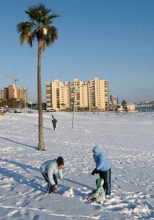 Christmas snow 2004 Corpus Christi, Texas. The only time its snowed here since I've been alive..