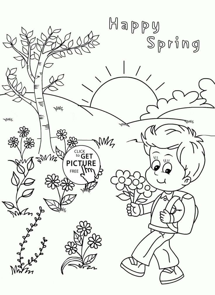 happy spring coloring page for kids seasons coloring pages printables free wuppsycom - Spring Coloring Pages For Kids Printable