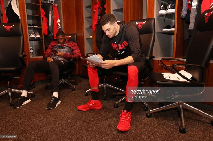 News Photo : Zach LaVine of the Chicago Bulls is seen before...