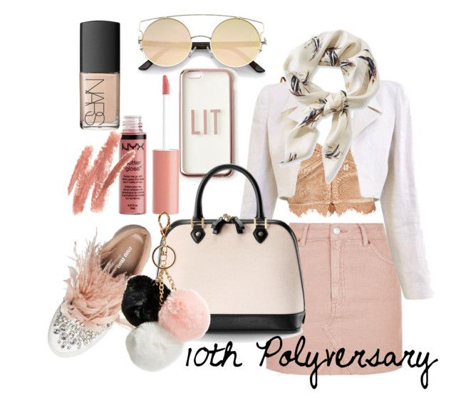 """""""Nude pink outfit , 10th polyvore celebration"""" by hielyaamelia on Polyvore featuring Topshop, Chanel, L.L.Bean, Miu Miu, Missguided, Charlotte Russe, NARS Cosmetics, Aspinal of London and GUESS"""