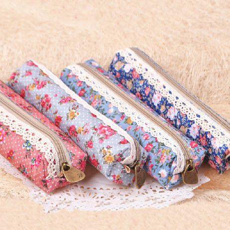 Retro Lace Fabric Pencil Box Case Bag 8pcslot Zipper Korean