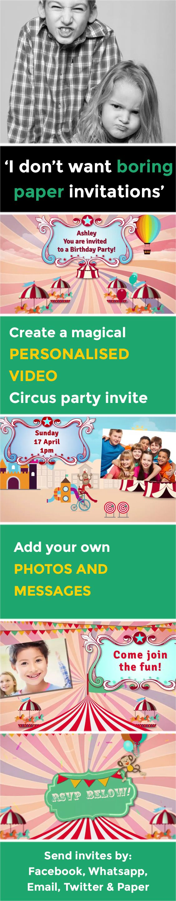 make your own birthday party invitations online for free%0A Create a magical VIDEO party invitation  www poshtiger co    Online Birthday