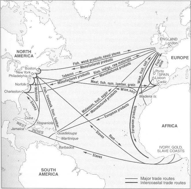 Map of Middle Passage Trade Routes   Even after slavery was outlawed in the North, ships out of New England continued to carry thousands of Africans to the American South