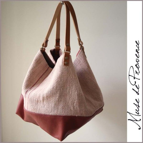 sac cabas fait main en cuir et chanvre 2