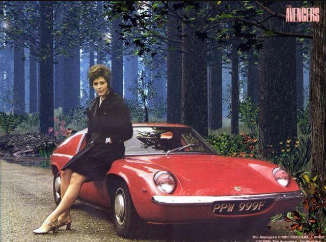 Linda Thorson (Tara King), The Avengers posing with a Lotus.