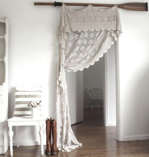 Use an old crocheted blanket or lace tablecloth as pergola curtains - they don't even have to match - just similar shade of white use a big branch for bar