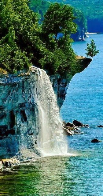 Spray Falls ~ Pictured Rocks National Lakeshore, between Munising and Grand Marais, Michigan. Located in the Upper Peninsula of Michigan