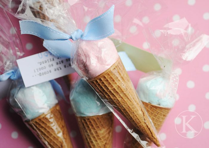 Here's the scoop Valentine ... you are cool. Cone with cotton candy on top.  I love this idea! Also a cute idea for party favors.