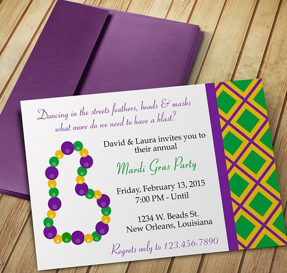 Mardi Gras Invitation Design  Editable Template  Microsoft