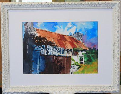 The Art of Phil Davis:   Derelict Cottage.Ink Pigment on watercolour pape...
