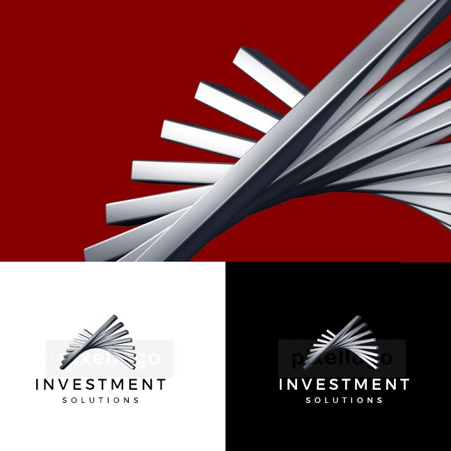 3D investment logo showing gradual growth steps.