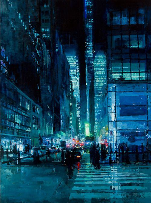 San Francisco-based artist Jeremy Mann lives and works in San Francisco where he executes these sublime, moody cityscapes using oil paints. To create each work he relies on a wide range of techniques including surface staining, the use of solvents to wipe away paint, and the application of broad, gritty marks with an ink brayer. The resulting paintings are dark and atmospheric, urban streets seemingly drenched in rain and mystery.