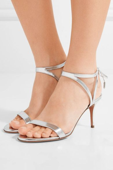 Heel measures approximately 75mm/ 3 inches Silver mirrored-leather Ties at ankle Made in ItalySmall to size. See Size & Fit notes.