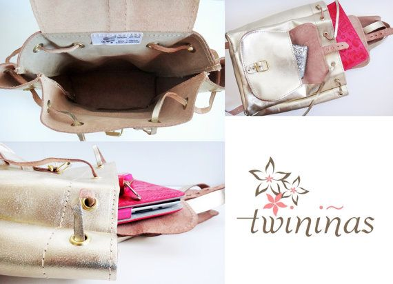Twininas handmade genuine leather backpack in light gold color. Also available in natural, pink, royal blue, and pistachio-mint color.  Adjustable